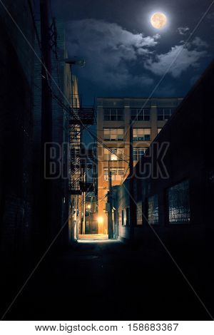 Dark urban alley at night with moon