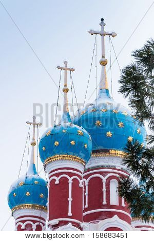 Russia Church of Tsarevich Dmitry on the Blood in Uglich. Blue domes with gold stars.