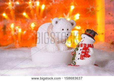 Snowman With Polar Bear, Happy New Year 2017, Christmas