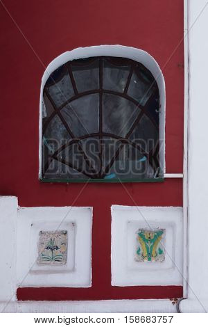 Russia Church of Tsarevich Dmitry on the Blood in Uglich. Details patterns. Window.
