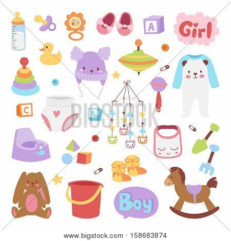 Baby icons set vector cartoon family toys sign. Baby kid symbols design cute boy and girl toys set childhood art. Baby kid symbols diaper drawing graphic love rattle fun collection.