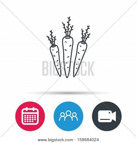 Carrots icon. Vegetarian food sign. Natural vegetables symbol. Group of people, video cam and calendar icons. Vector