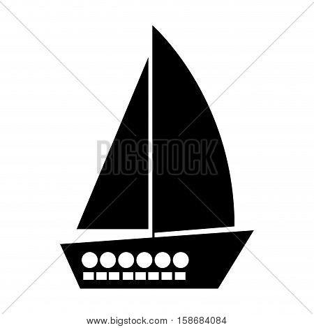 black silhouette yacht flat icon vector illustration