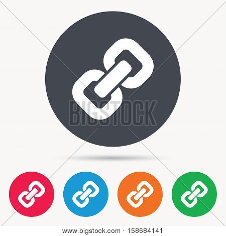 Chain icon. Internet web hyperlink symbol. Colored circle buttons with flat web icon. Vector