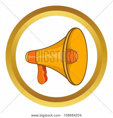 Mouthpiece vector icon in golden circle, cartoon style isolated on white background
