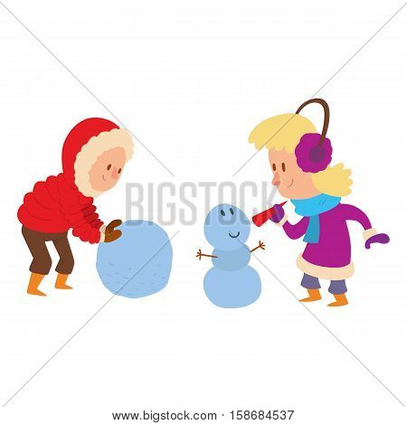 Christmas kids playing winter games. boy makes a snow man, children playing snowballs. Cartoon New Year winter holidays background.
