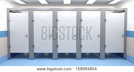 3D illustration of public toilet cubicles, front view