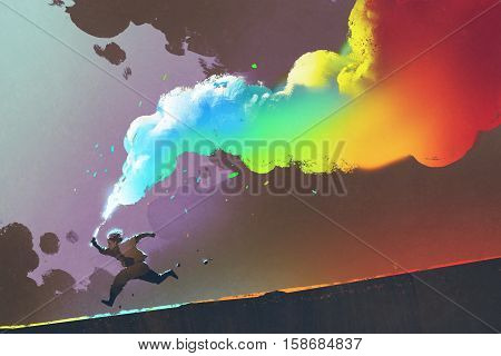 boy running and holding up colorful smoke flare on dark background, illustration painting