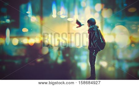 futuristic girl and a bird look each other in the eyes on night city background, illustration painting