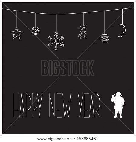 Black New Year Card With White Silhouette Of Santa Claus And Text. Vector Illustration