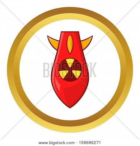 Nuclear warhead vector icon in golden circle, cartoon style isolated on white background