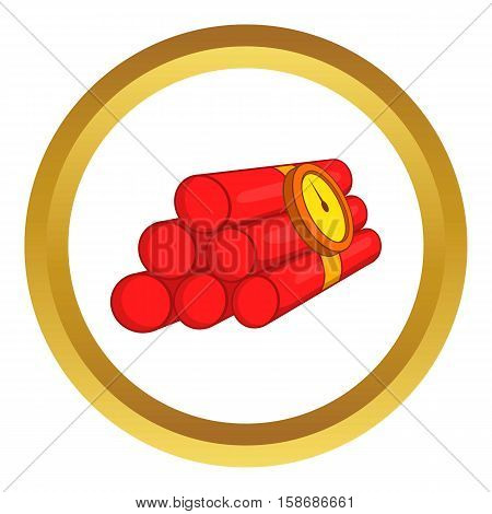 Dynamite vector icon in golden circle, cartoon style isolated on white background