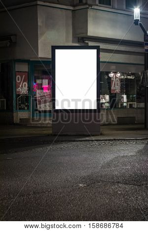 Street Lightbox White Blank Corner Clipping Path Advertisement Space Night City Streets
