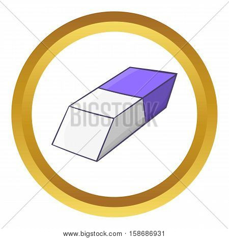 Blue and white rubber pencil eraser vector icon in golden circle, cartoon style isolated on white background
