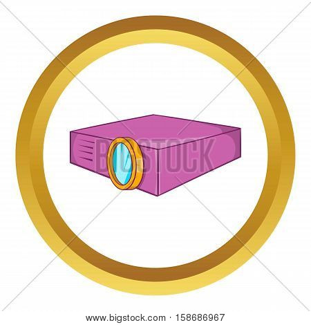 Multimedia projector vector icon in golden circle, cartoon style isolated on white background