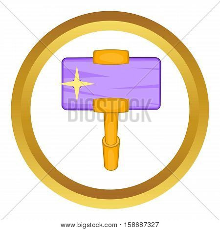 Smartphone and selfie stick vector icon in golden circle, cartoon style isolated on white background
