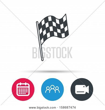 Finish flag icon. Start race sign. Group of people, video cam and calendar icons. Vector