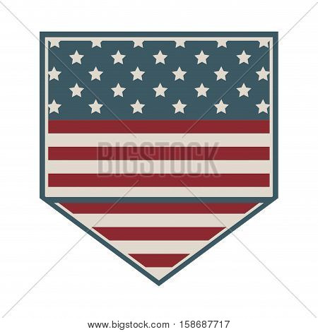 square shape of shield with american flag icon vector illustration