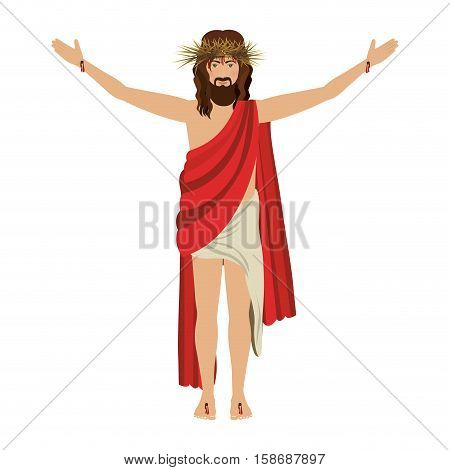 jesus christ with crown of thorns vector illustration