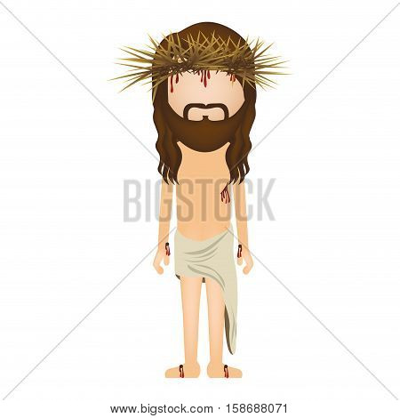 avatar jesus christ with crown of thorns vector illustration