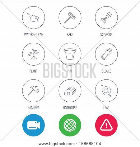 Sprout plant, scissors and pot icons. Gloves, rake and watering can linear signs. Hothouse, leaf and hammer flat line icons. Video cam, hazard attention and internet globe icons. Vector