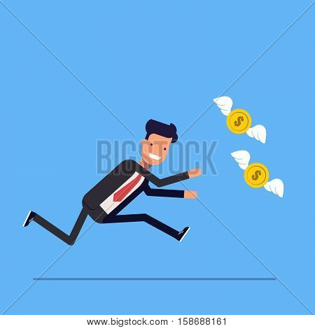 Businessman or manager runs after money flies away. Man in business suit in a hurry for coins with wings. Vector, illustration EPS10