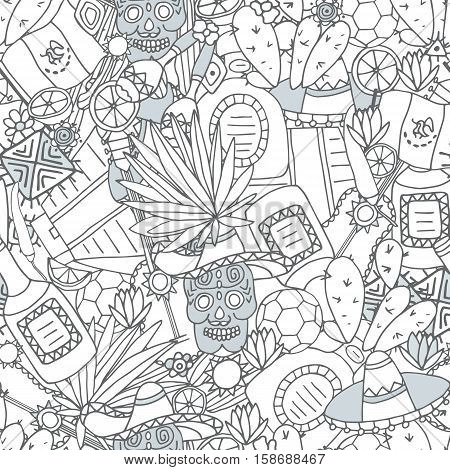 Doodles seamless pattern of Mexico - Temple of Kukulkan, tequila, sombrero, agave, maracas and other culture elements. Vector illustration.