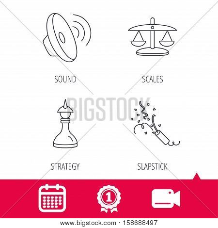 Achievement and video cam signs. Scales of justice, sound and strategy icons. Slapstick linear sign. Calendar icon. Vector