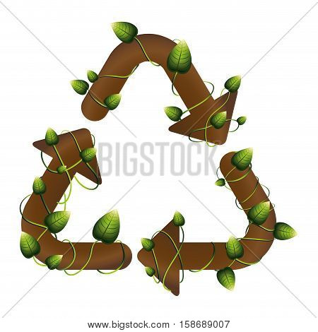 grouth recycling symbol shape with creepers vector illustration
