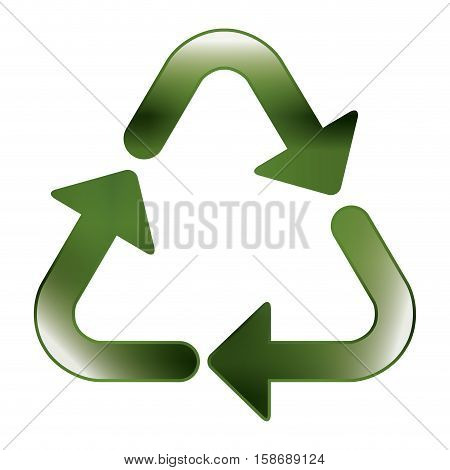green recycling symbol shape with relief vector illustration