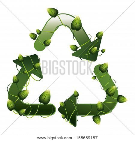 recycling symbol shape with creepers vector illustration