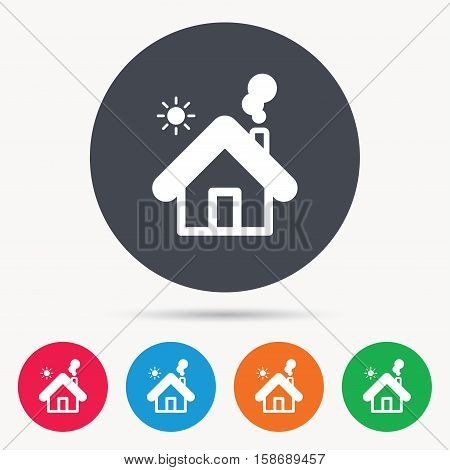 Home icon. House building symbol. Real estate construction. Colored circle buttons with flat web icon. Vector