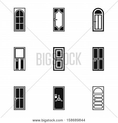 Exterior doors icons set. Simple illustration of 9 exterior doors vector icons for web