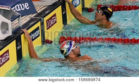 Hong Kong China - Oct 29 2016. Olympic and world champion swimmer Chad LE CLOS (RSA) and ORTIZ-CANAVATE Miguel (ESP). FINA Swimming World Cup Preliminary Heats Victoria Park Swimming Pool.