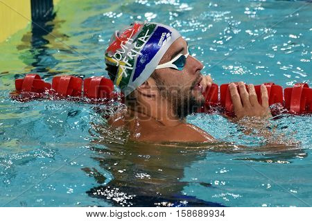 Hong Kong China - Oct 29 2016. South African Olympic and world champion swimmer Chad LE CLOS (RSA) in the finish. FINA Swimming World Cup Preliminary Heats Victoria Park Swimming Pool.