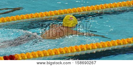 Hong Kong China - Oct 29 2016. Austrian swimmer Sebastian STEFFAN (AUT) swiming breaststroke. FINA Swimming World Cup Preliminary Heats Victoria Park Swimming Pool.