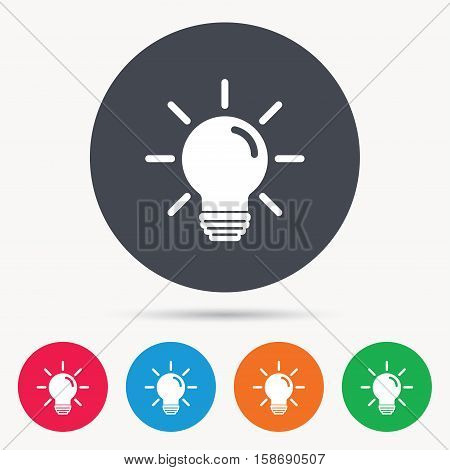 Light bulb icon. Lamp sign. Illumination technology symbol. Colored circle buttons with flat web icon. Vector