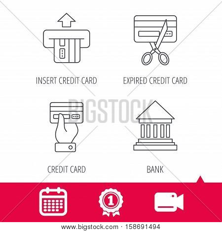 Achievement and video cam signs. Bank credit card, expired card icons. Give credit card linear sign. Calendar icon. Vector