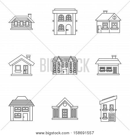 Residence icons set. Outline illustration of 9 residence vector icons for web