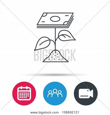 Profit icon. Money savings sign. Flower with cash money symbol. Group of people, video cam and calendar icons. Vector