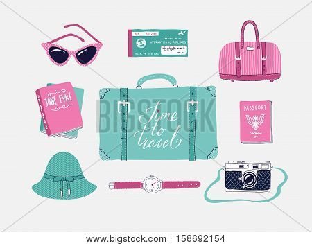 Retro set of vector illustrations about travel vacation adventure. Retro 50's style. Hand drawn travel lettering. Suitcase bag camera clothes and other stuff.