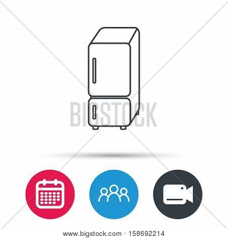 Refrigerator icon. Fridge sign. Group of people, video cam and calendar icons. Vector