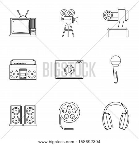 Broadcasting icons set. Outline illustration of 9 broadcasting vector icons for web