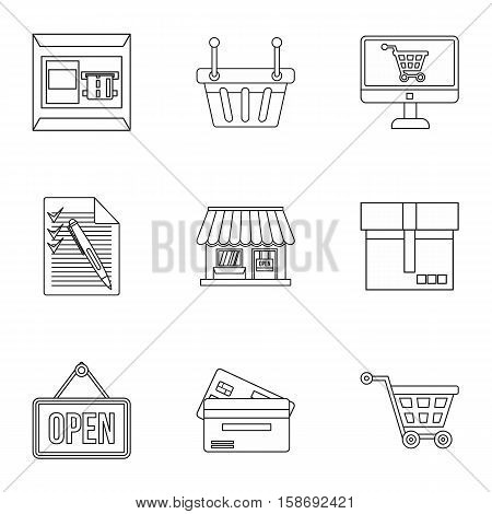 Purchase icons set. Outline illustration of 9 purchase vector icons for web