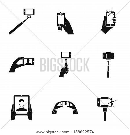 Photography on smartphone icons set. Simple illustration of 9 photography on smartphone vector icons for web
