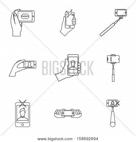 Photo on smartphone icons set. Outline illustration of 9 photo on smartphone vector icons for web