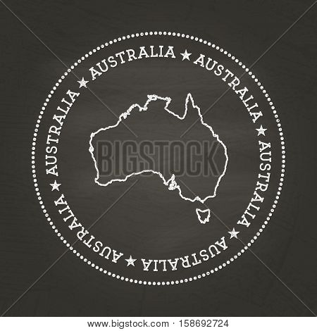 White Chalk Texture Vintage Seal With Commonwealth Of Australia Map On A School Blackboard. Grunge R