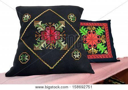 Pillows with Bedouin folk embroidery on canvas