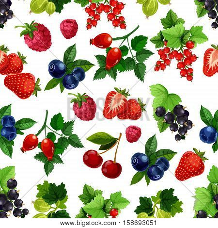 Berries fruits pattern. Vector seamless background of strawberry, raspberry, blueberry, blackcurrant, redcurrant, cherry, gooseberry, briar berry bunches with leaves