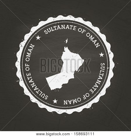 White Chalk Texture Rubber Stamp With Sultanate Of Oman Map On A School Blackboard. Grunge Rubber Se